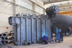 Termicznej elektrowni kominów chłodnicza produkcja Obrazy Royalty Free