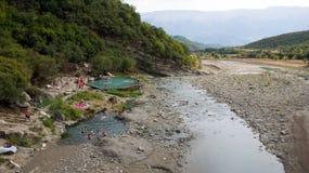 Termiczni gorący baseny w Benja w Albania Zdjęcie Stock