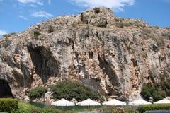 Termiczny jezioro na południowym wybrzeżu stały ląd Grecja 06 20 2014 Aktywny rekreacyjny odpoczynek w nawadnia gorące wiosny Obrazy Royalty Free