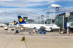 Terminal 1 with passenger airplanes in Frankfurt Royalty Free Stock Photo