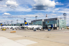 Terminal 1 with passenger airplanes in Frankfurt Royalty Free Stock Image