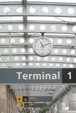 Terminal. Budapest airport terminal with a clock Royalty Free Stock Photos