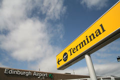 Terminal. Sign at the airport of edinburgh scotland Royalty Free Stock Images