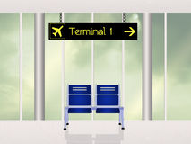 Terminal in the airport scene. Illustration of terminal in the airport scene Stock Photo