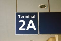 Terminal of an airport sign Stock Photo
