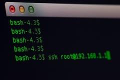 Terminal Application call ssh program stock images