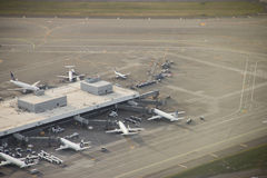 Terminal Area at Major Airport. Parked airliners at Seattle-Tacoma International - aerial view Stock Photos