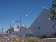 Terminal 1 - cais Copenhaga Dinamarca do oceano fotos de stock royalty free