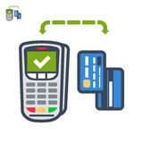 Terminal and cards payment flat vector icon. Icon of mobile payment with card Stock Photo