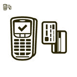 Terminal and cards payment  icon. Icon of terminal payments with cards Stock Image