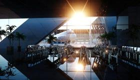 Terminal d'aéroport Coucher du soleil de Wonderfull Concept d'affaires et de voyage rendu 3d illustration stock