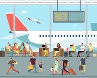 Terminal de aeroporto internacional com o pessoa de assento e de passeio Os homens e as mulheres, famílias com crianças vão em fé ilustração do vetor