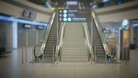 Terminal de aeroporto vazio na noite, escada rolante vazia na alameda vídeos de arquivo