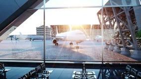 Terminal de aeropuerto Animación de la mosca Puesta del sol de Wonderfull Buisnes y concepto del viaje ilustración del vector