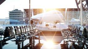 Terminal de aeropuerto Animación de la mosca Puesta del sol de Wonderfull Concepto del negocio y del viaje stock de ilustración
