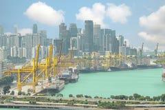 Terminal de cargaison de Singapour, un des ports les plus occupés au monde, photographie stock