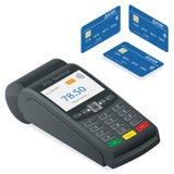 Terminal de carte de crédit sur un fond blanc Images stock