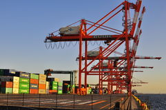 Terminal de conteneur dans Odaiba, Tokyo Image stock