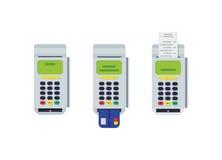 Terminal de la posición con la tarjeta de crédito insertada y el recibo impreso Elemento plano moderno del diseño Vector Eps10 Fotos de archivo