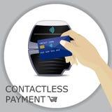 Terminal de la posición con la tarjeta de la mano y de crédito Pago sin contacto, app Imagen de archivo libre de regalías