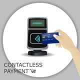 Terminal de la posición con la tarjeta de la mano y de crédito Pago sin contacto, app Imagen de archivo