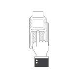Terminal de la posición en estilo plano Pago de la posición Máquina de la posición del ejemplo o terminal de la tarjeta de crédit Imágenes de archivo libres de regalías