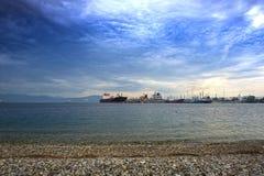 Terminal de petróleo y gas en Grecia fotografía de archivo libre de regalías