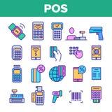 Terminal de position, ensemble linéaire d'icônes de vecteur mobile de paiement illustration de vecteur