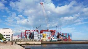 Terminal de recipiente do mar video estoque