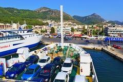 Terminal de transbordadores de Igoumentsa Grecia Fotografía de archivo libre de regalías