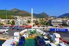 Terminal de transbordadores de Igoumentsa Grecia Foto de archivo libre de regalías