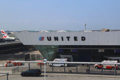 Terminal 7 de United Airlines en Juan F Kennedy International Airport en Nueva York Imagenes de archivo