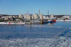 Terminal del combustible de Nynashamn Foto de archivo libre de regalías