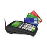 Terminal del pago con las tarjetas de banco del color Imagen de archivo libre de regalías