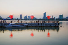 Terminal DHS-marina in the evening twilight on the Han river. Danang Stock Photography