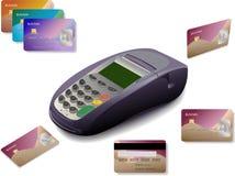 Terminal do cartão de crédito com cartões Foto de Stock Royalty Free