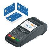 Terminal do cartão de crédito em um fundo branco Terminal da posição e cartão do débito-crédito, perto da tecnologia de comunicaç Fotografia de Stock Royalty Free