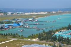 Terminal do hidroavião, homem, Maldivas Imagem de Stock
