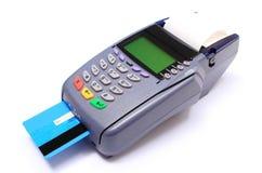 Terminal do pagamento com o cartão de crédito no fundo branco Imagens de Stock Royalty Free