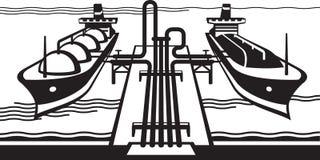 Terminal do tanque de gás com os navios de carga de GNL Fotografia de Stock Royalty Free