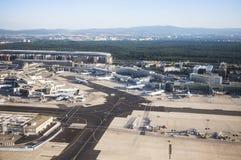 Terminal 1 en salida del sol en Francfort Foto de archivo libre de regalías