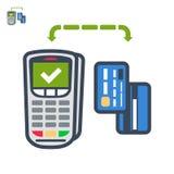 Terminal en van de kaartenbetaling vlak vectorpictogram Stock Foto
