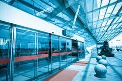 Terminal entrance. Automatic glass doors Stock Photo