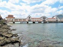 Terminal et dock de bateau de croisière dans Cozumel, Mexique images libres de droits