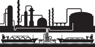 Terminal för export för oljarafineryhav vektor illustrationer