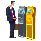 Terminal 02. Flat Vector images to the flat stationary payment terminal with a character - a businessman with a briefcase Stock Images