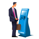 Terminal 02. Flat Vector images to the flat stationary payment terminal with a character - a businessman with a briefcase Stock Photo
