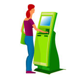 Terminal 02. Flat Vector images to the flat stationary payment terminal with a character - a girl Stock Image