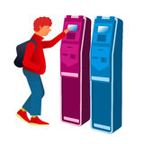 Terminal 02. Flat Vector images to the flat stationary payment terminal with the character - Teen in sneakers with a backpack Stock Image