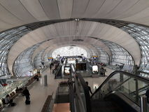 Terminal hall in Suvarnabhumi Airport Thailand: Taken at 08 JAN 2017. In the morning of 08 Jan 2017 people waiting for going to somewhere royalty free stock photography